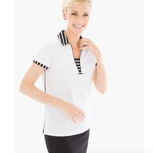 ZENERGY GOLF STRIPE TRIMMED POLO